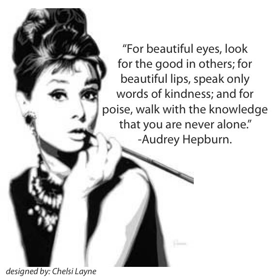 Audrey hepburn on beauty etched in tin for Exterior beauty quotes